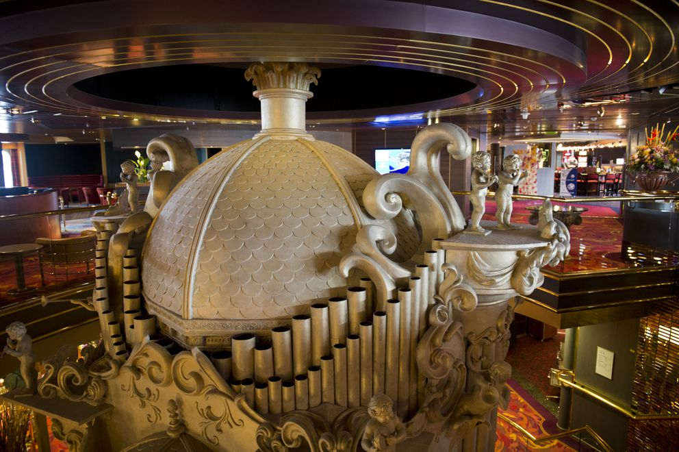 The top of an ornate multistory pipe organ is part of the Zaandam's musical theme. (Marc Lester / ADN)