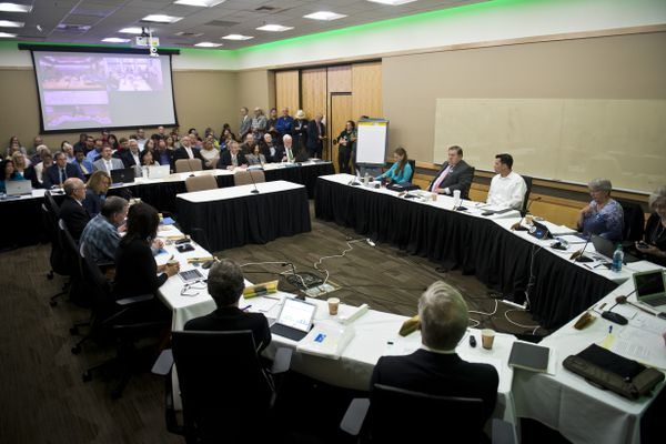 The University of Alaska Board of Regents met at UAA to discuss restructuring the university in the face of budget cuts on July 30, 2019. (Marc Lester / ADN)
