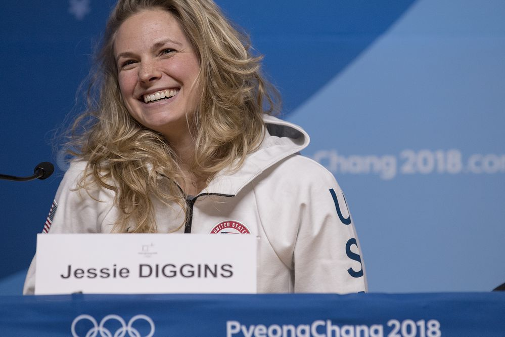 Team USA cross-country skier Jessie Diggins during a news conference at the Pyeongchang Winter Olympics on Thursday, Feb. 8, 2018. (Carlos Gonzalez/Minneapolis Star Tribune/TNS)