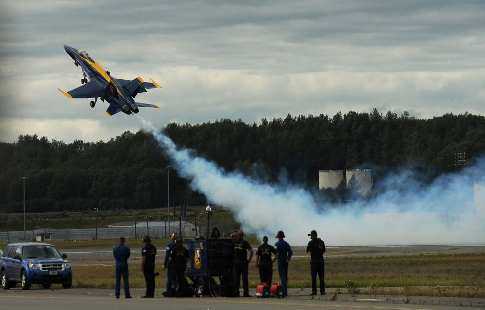 The U.S. Navy Blue Angels perform during the Arctic Thunder air show at Joint Base Elmendorf-Richardson on Saturday, July 30, 2016 in Anchorage. (Bob Hallinen / Alaska Dispatch News)