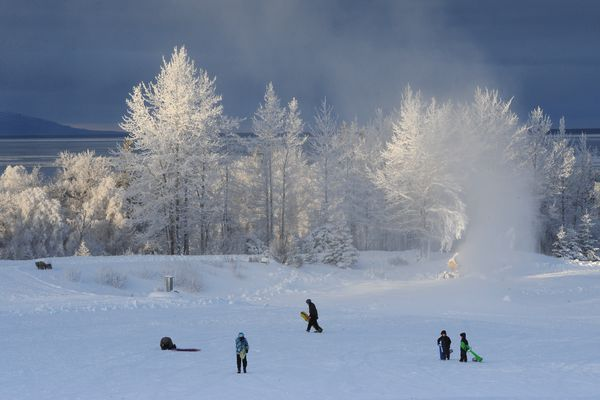 Snowmaking at Kincaid Park on a frosty Thursday afternoon, Dec. 28, 2017. (Bill Roth / ADN)