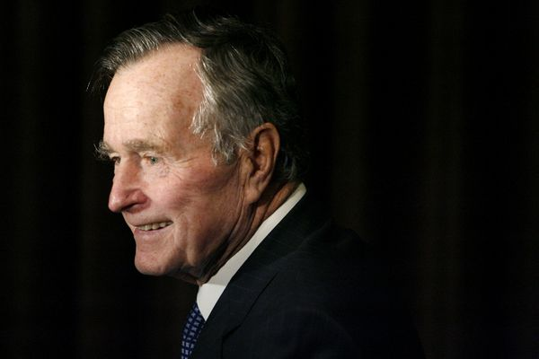 FILE - In this Feb. 6, 2007, file photo, former President George H.W. Bush arrives at the 2007 Ronald Reagan Freedom Award gala dinner held in his honor in Beverly Hills, Calif. Bush has died at age 94. Family spokesman Jim McGrath says Bush died shortly after 10 p.m. Friday, Nov. 30, 2018, about eight months after the death of his wife, Barbara Bush. (AP Photo/Matt Sayles, File)