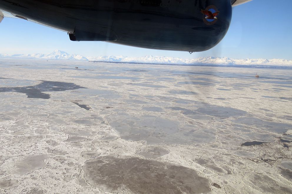 Pan ice is abundant in Cook Inlet last Thursday in the general area of the natural gas leak from a Hilcorp Alaska pipeline carrying gas for fuel by offshore platforms. Sea surface bubbles from the leak could not be detected due to the ice cover. (Jacob Cunha / Alaska Department of Fish and Game)