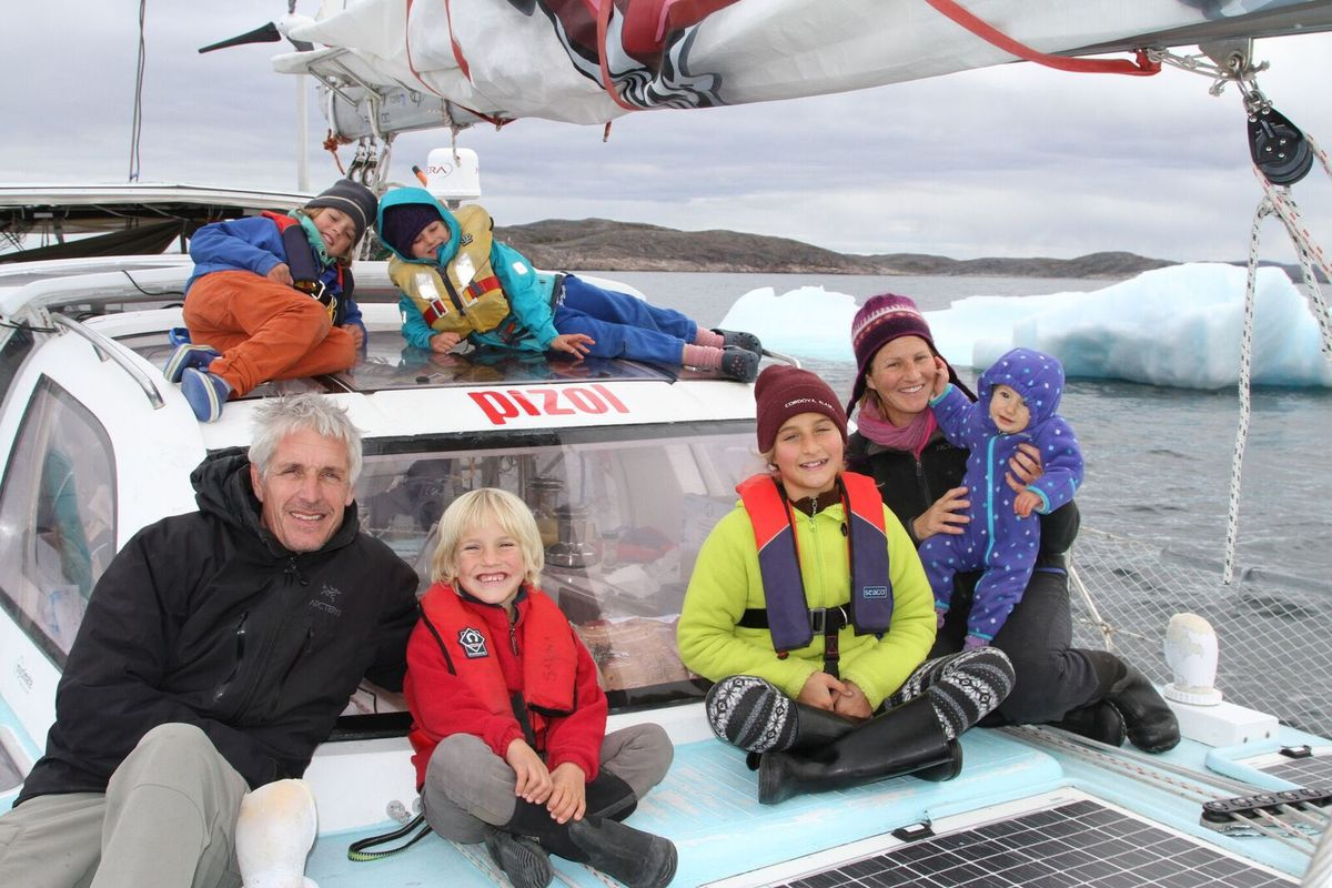 The Schwoerer family sailed through the Northwest Passage in August. From left, Dario, Noe and Salina; behind Dario, Andri and Alegra; and to the right, Sabine and baby Mia. (Courtesy Dario Schwoerer)