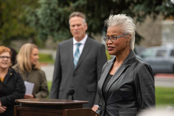 Sen. Elvi Gray-Jackson speaks at a bill signing ceremony at the Martin Luther King, Jr. Living Memorial on Thursday, Sept. 19, 2019 in Anchorage. Gray-Jackson sponsored Senate Bill 40, which establishes February as Black History Month. (Loren Holmes / ADN)