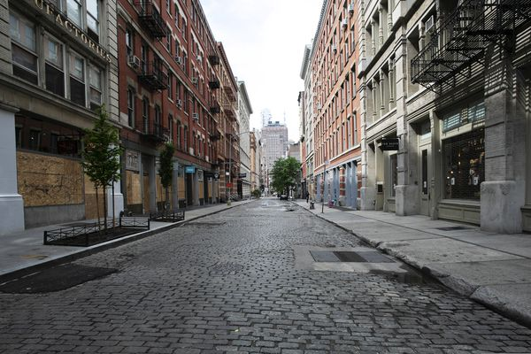 A SoHo street is deserted, Wednesday, June 3, 2020, in New York. There's a certain kind of silent on the streets of Manhattan. Not the