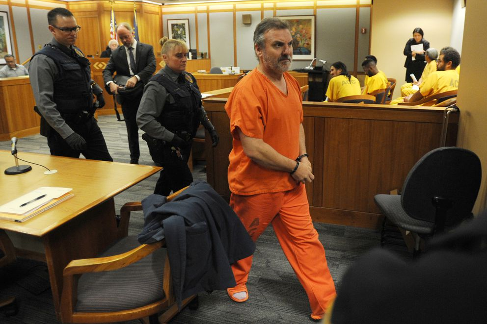Brian Steven Smith leaves the courtroom after his arraignment on Monday, Oct. 21, 2019, after he was charged with first-degree murder in the shooting death of Veronica Abouchuk. (Bill Roth / ADN)
