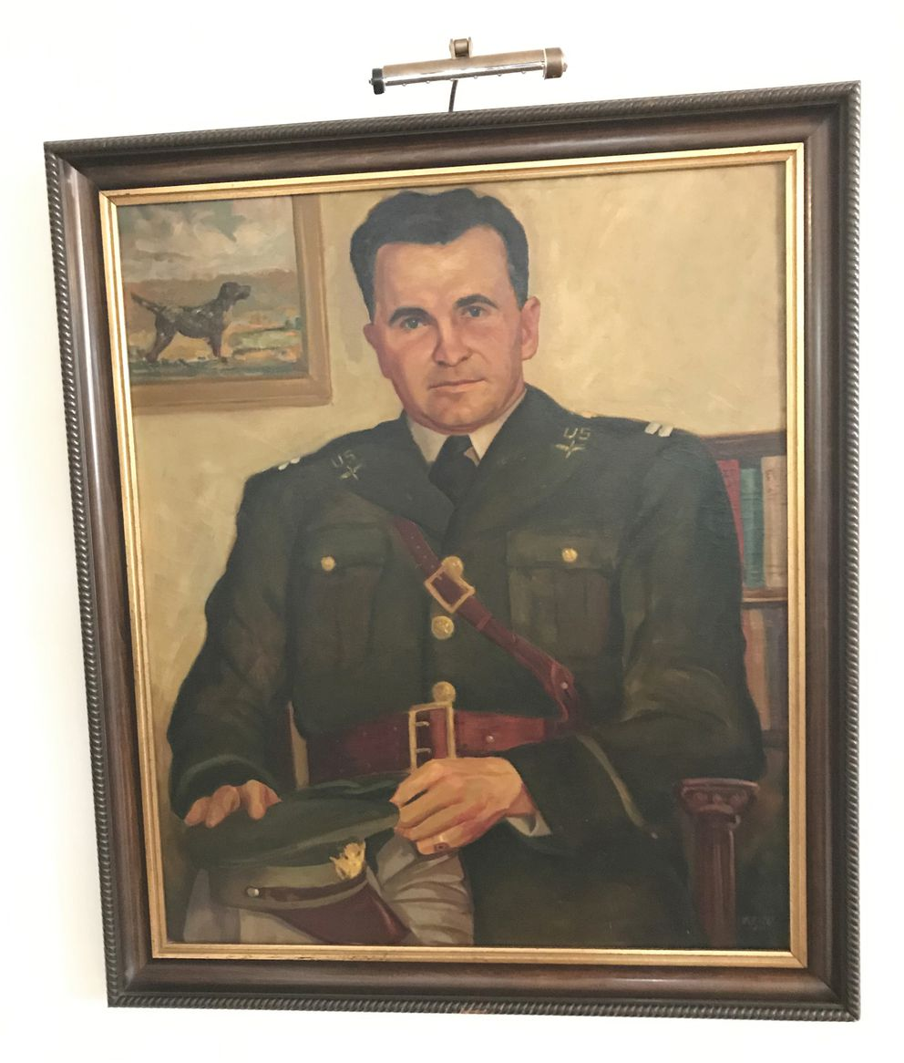 Pete Buttigieg's great uncle Russell Montgomery was an Army Air Corps captain. An oil painting of him hangs in his mother's living room. (Courtesy Pete Buttigieg)