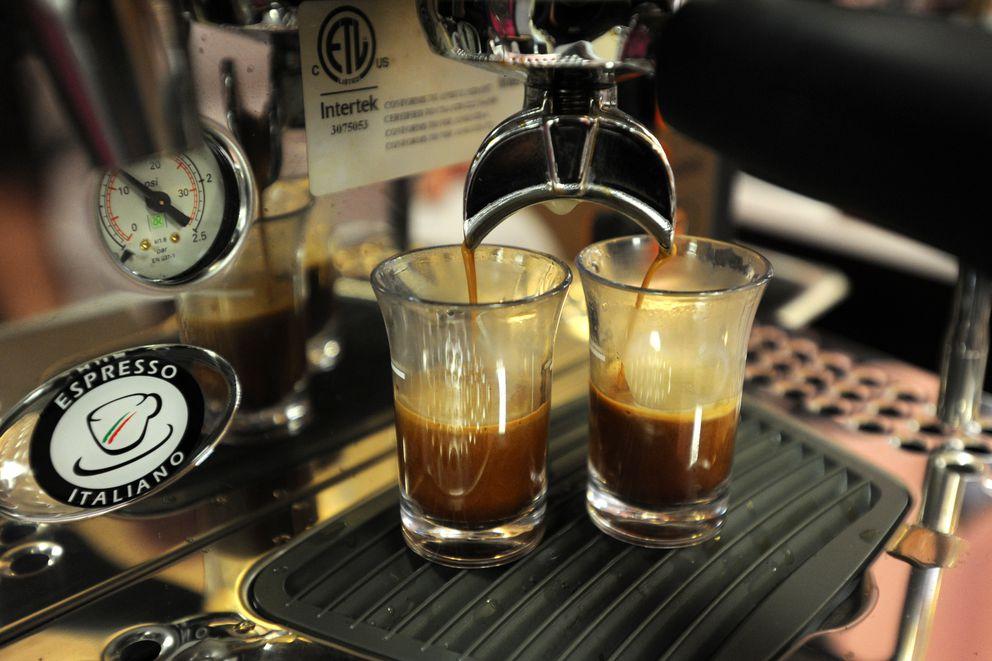 Espresso shots are prepared at Eva's Cupcakerye. (Erik Hill / ADN)