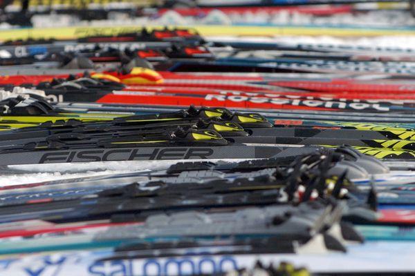 Cross country skis photographed Feb. 8, 2019 at Kincaid Park. (Matt Tunseth / ADN)