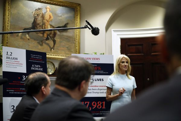 Counselor to the President Kellyanne Conway, speaks during a briefing on efforts to combat the opioid crisis in the Roosevelt Room of the White House, Wednesday, June 12, 2019, in Washington. (AP Photo/Alex Brandon)