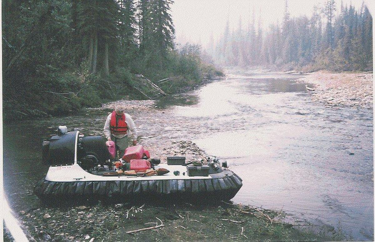 John Sturgeon with his hovercraft on the Nation River. (Photo provided by John Sturgeon )
