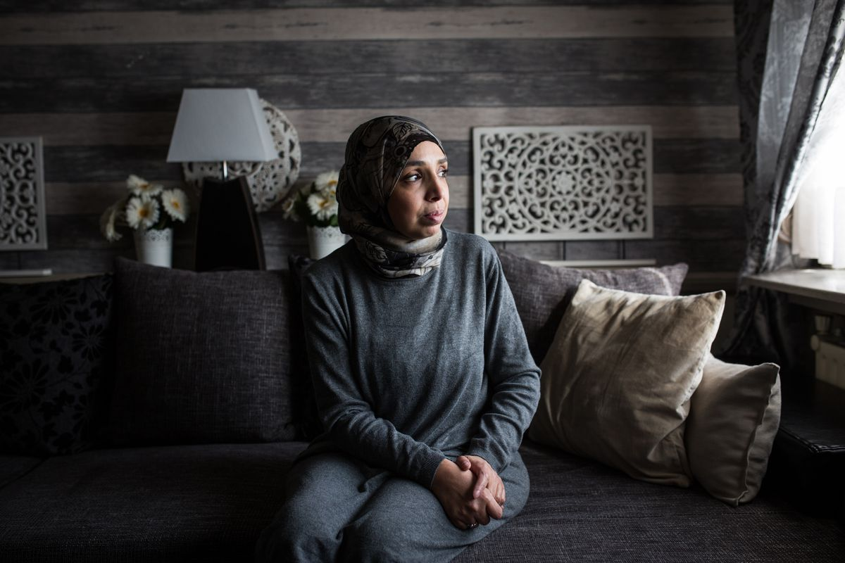 Fatiha, mother and mother-in-law of Bouchra Abouallal and Tatiana Wielandt, poses at her home in Ranst, Belgium, on Wednesday, Feb. 13, 2019. Since December, Fatiha has tried to persuade Belgium to repatriate the two women and their six children, despite their links to the Islamic State terrorist organization. (Photo for The Washington Post by Virginie Nguyen Hoang)