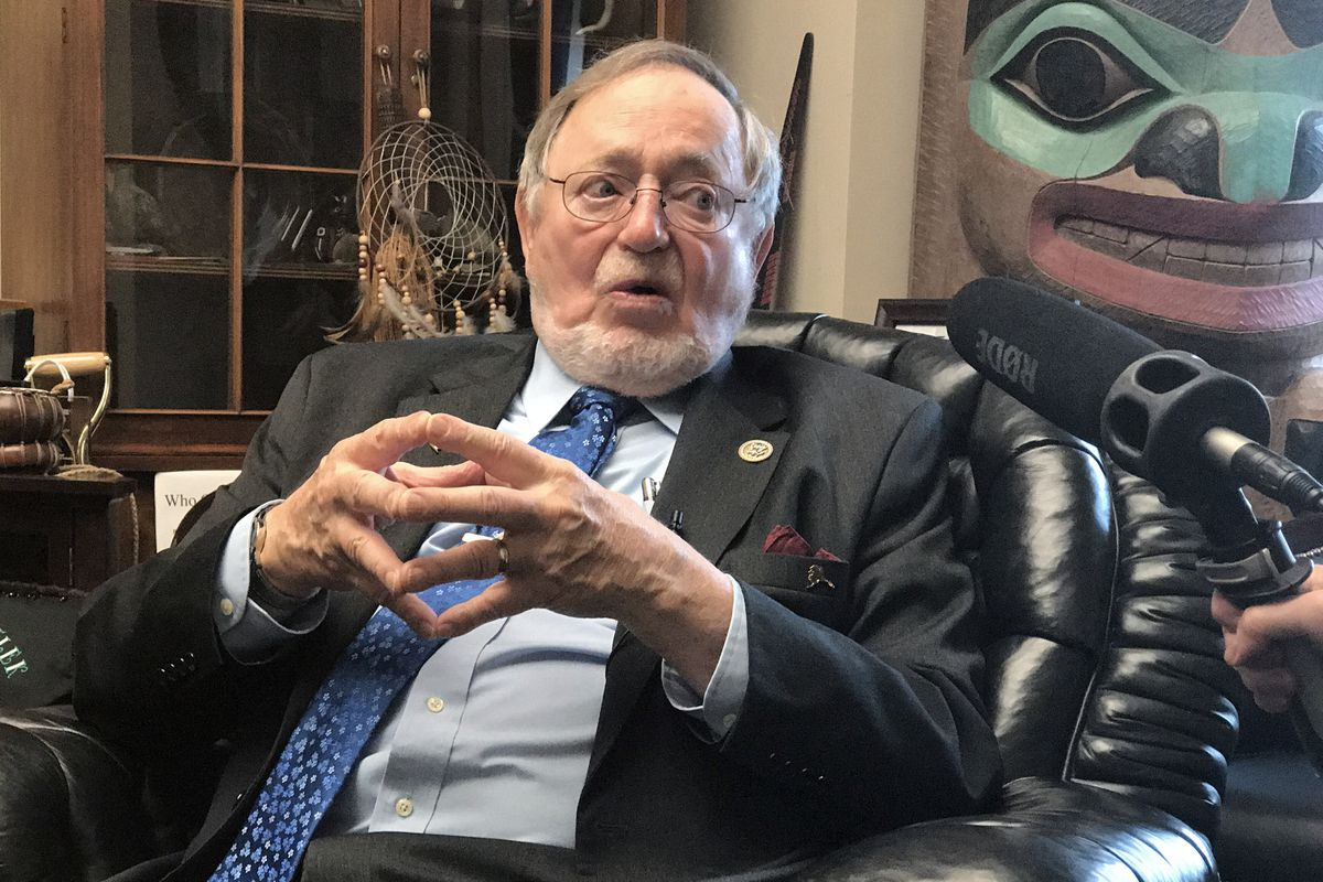 Rep. Don Young speaks to reporters in his Washington, D.C., office after the American Health Care Act was pulled from consideration on the House floor March 24. (Erica Martinson / ADN archive 2017)