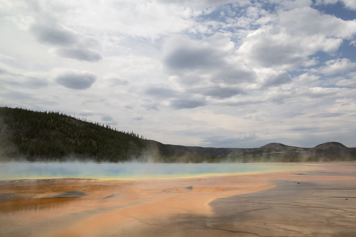 Grand Prismatic Spring at Yellowstone National Park in Wyoming, Aug. 30, 2017. Volcanic activity is responsible for some of the park's most spectacular sights. (Janie Osborne/The New York Times)