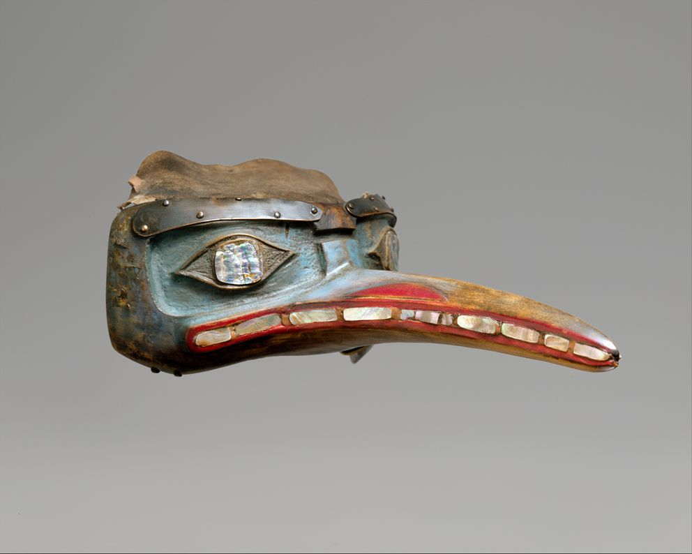 This Tlingit mosquito mask, made prior to 1843 , is in the collection of the The Metropolitan Museum of Art (public domain image via metmuseum.org)