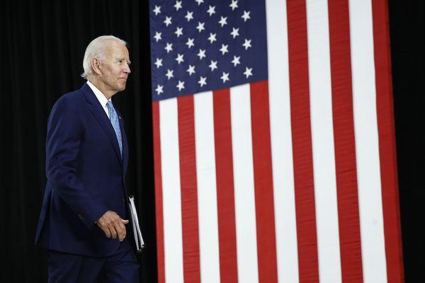 Democratic presidential candidate, former Vice President Joe Biden departs after speaking at Alexis Dupont High School in Wilmington, Del., Tuesday, June 30, 2020. (AP Photo/Patrick Semansky)