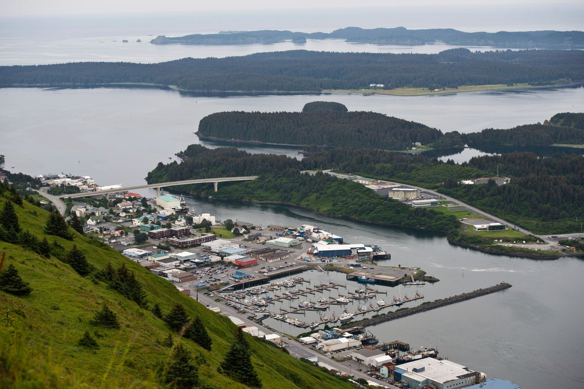 The city of Kodiak as seen from Pillar Mountain on Tuesday, July 21, 2015. (Marc Lester / Alaska Dispatch News)