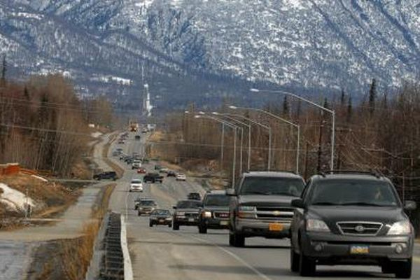 Stephen Nowers / Anchorage Daily News Matanuska Peak dominates the view looking east along the Palmer-Wasilla Highway on Friday afternoon, April 6, 2007. The Mat-Su Borough recently announced plans to improve the Valley's major arteries.