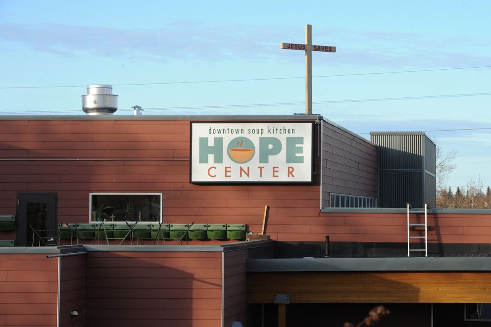 The Hope Center downtown soup kitchen on 3rd Avenue has secured a religious designation to prevent Alaska Sense from opening a retail cannabis business on 4th Avenue but a neighboring soup kitchen, at right on 3rd Avenue. Photographed on Thursday, Oct. 17, 2019. (Bill Roth / ADN)