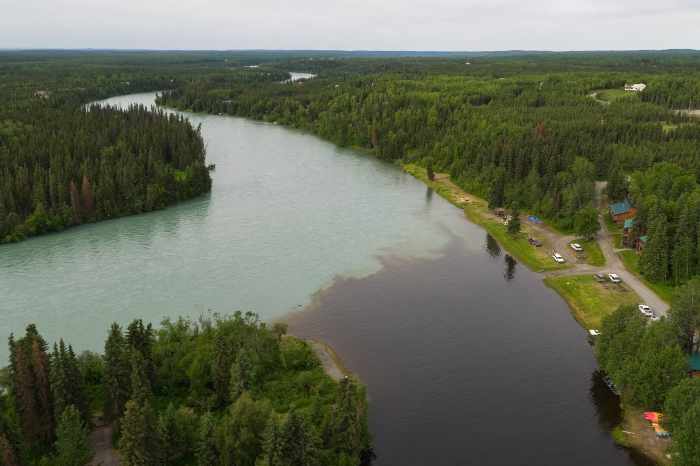 The Moose River flows into the Kenai River Friday, June 29, 2018 at Izaak Walton State Park in Sterling. The area is a popular king salmon fishing spot, but the fishery has been closed since June 20 because of poor returns, and will remain closed through July. (Loren Holmes / ADN)
