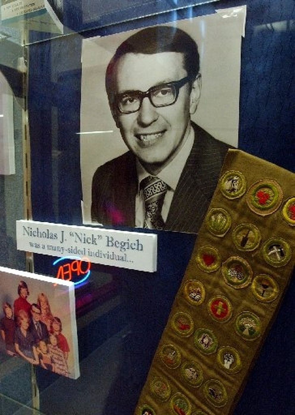 A display case at Begich Middle School in Anchorage the late congressman Nick Begich, father of former Sen. Mark Begich.