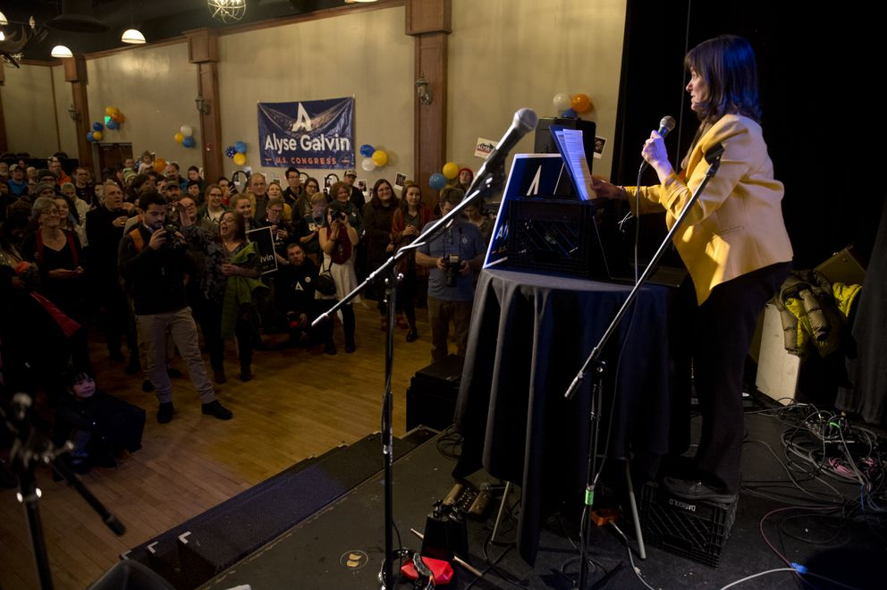 Congressional candidate Alyse Galvin addresses supporters at her Election Day party at 49th State Brewing Company on November 6, 2018. (Marc Lester / ADN)
