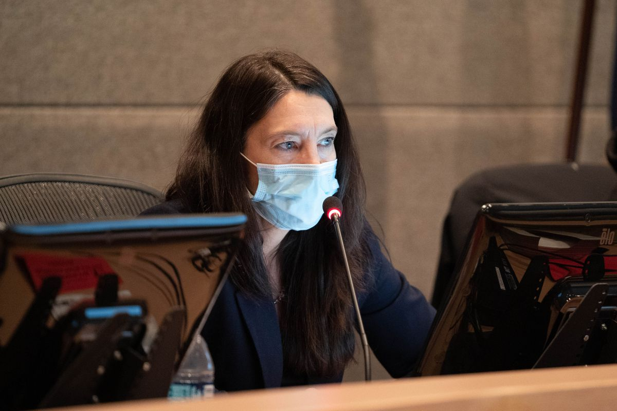 Anchorage Assembly member Suzanne LaFrance participates in a special Assembly meeting Friday, Oct. 16, 2020. (Loren Holmes / ADN)