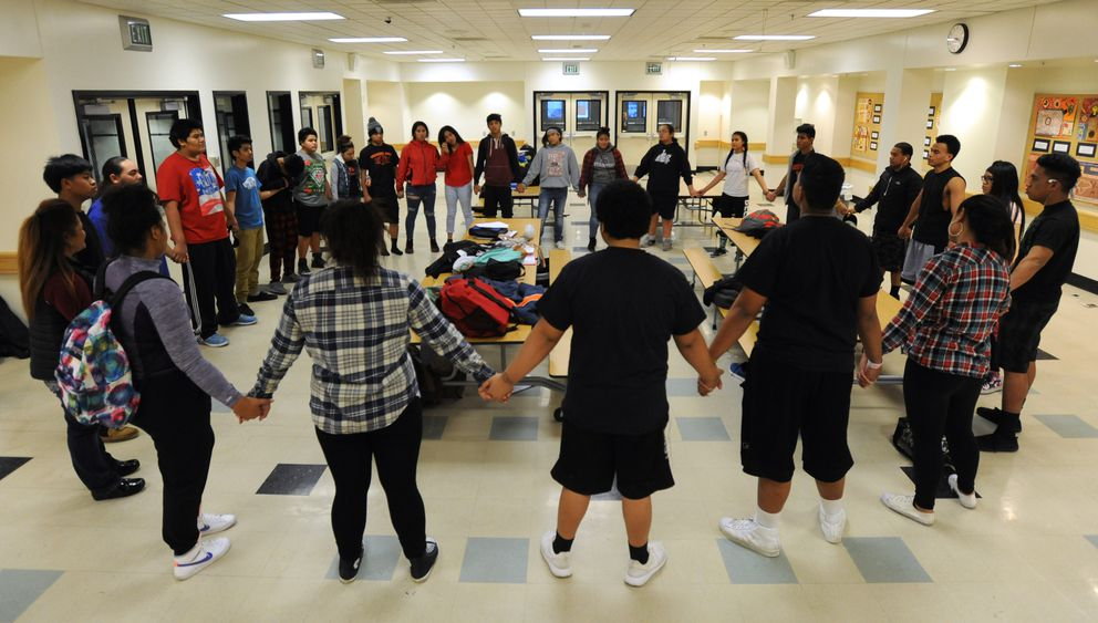 Every West High Poly Club meeting starts and ends with a circle. (Bill Roth / Alaska Dispatch News)