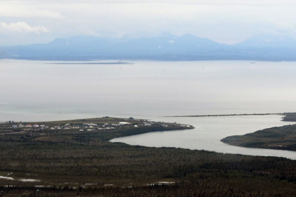 Aerial view of the village of Newhalen and the mouth of the Newhalen river on the edge of Lake Iliamna on Tuesday, August 27, 2013. The Bristol Bay watershed supports all five species of Pacific salmon found in North America and accounts for almost half the world's supply of wild red salmon. (Bill Roth/Anchorage Daily News)