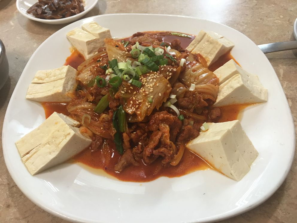 Kimchi jaeyuk tofu at Wonjo Tofu House in Anchorage (Photo by Mara Severin)