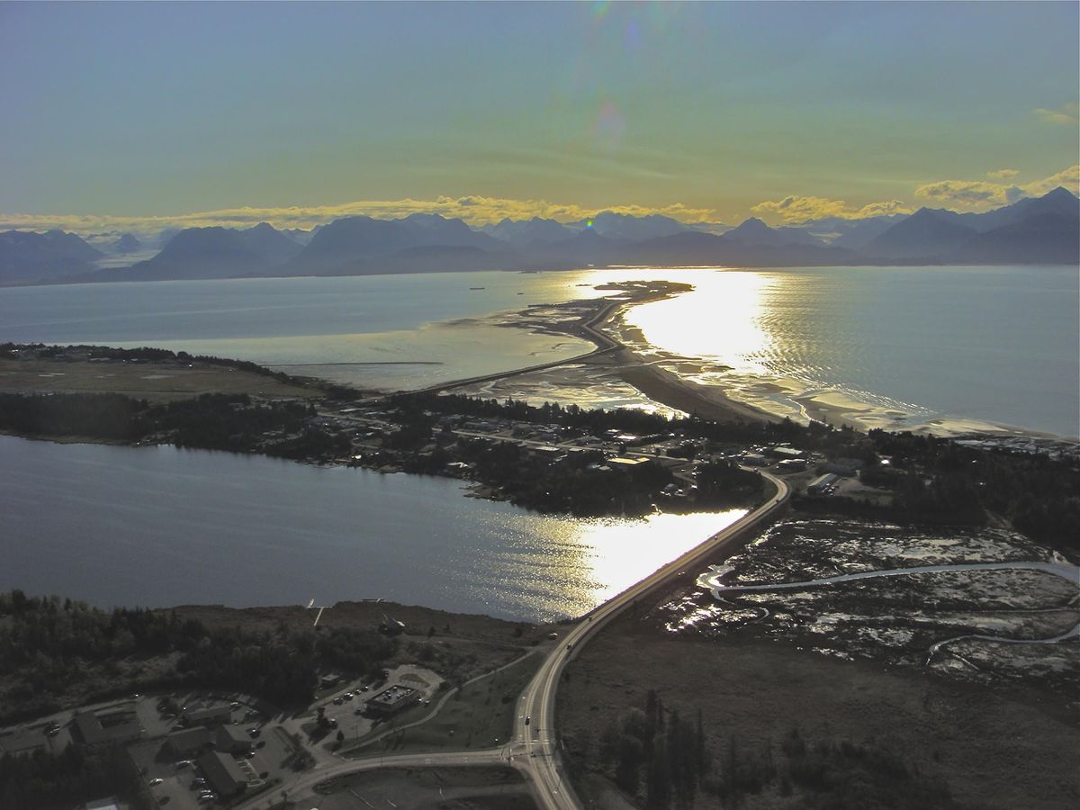 The view of Homer Spit and Kachemak Bay on a beautiful fall day. Lands End Resort on the spit, along with other Alaska lodges, is offering end-of-season deals. (Photo by Scott McMurren)