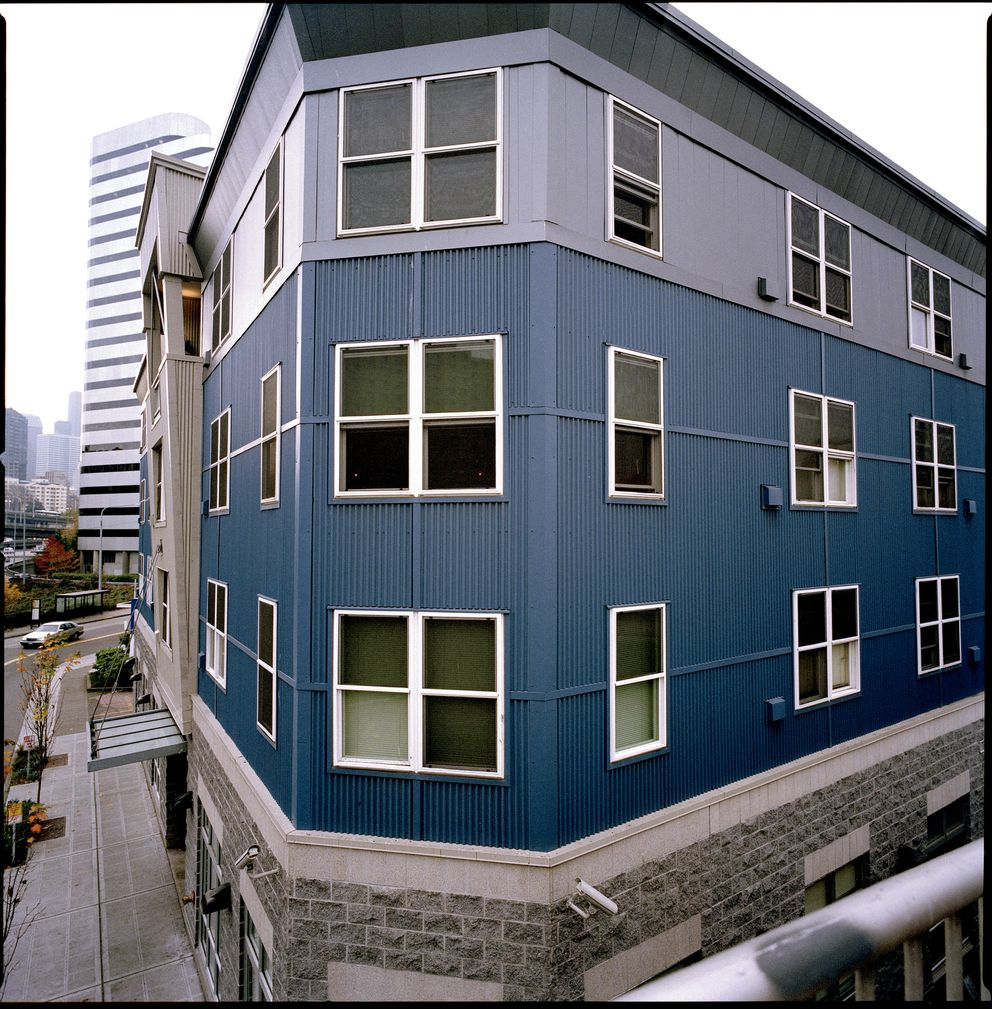 The 75-unit residence for homeless chronic alcoholics at 1811 Eastlake Ave. in Seattle, pictured in November 2007, offers housing, meals and various support services. Residents are allowed to drink. (Angel Franco / The New York Times file)