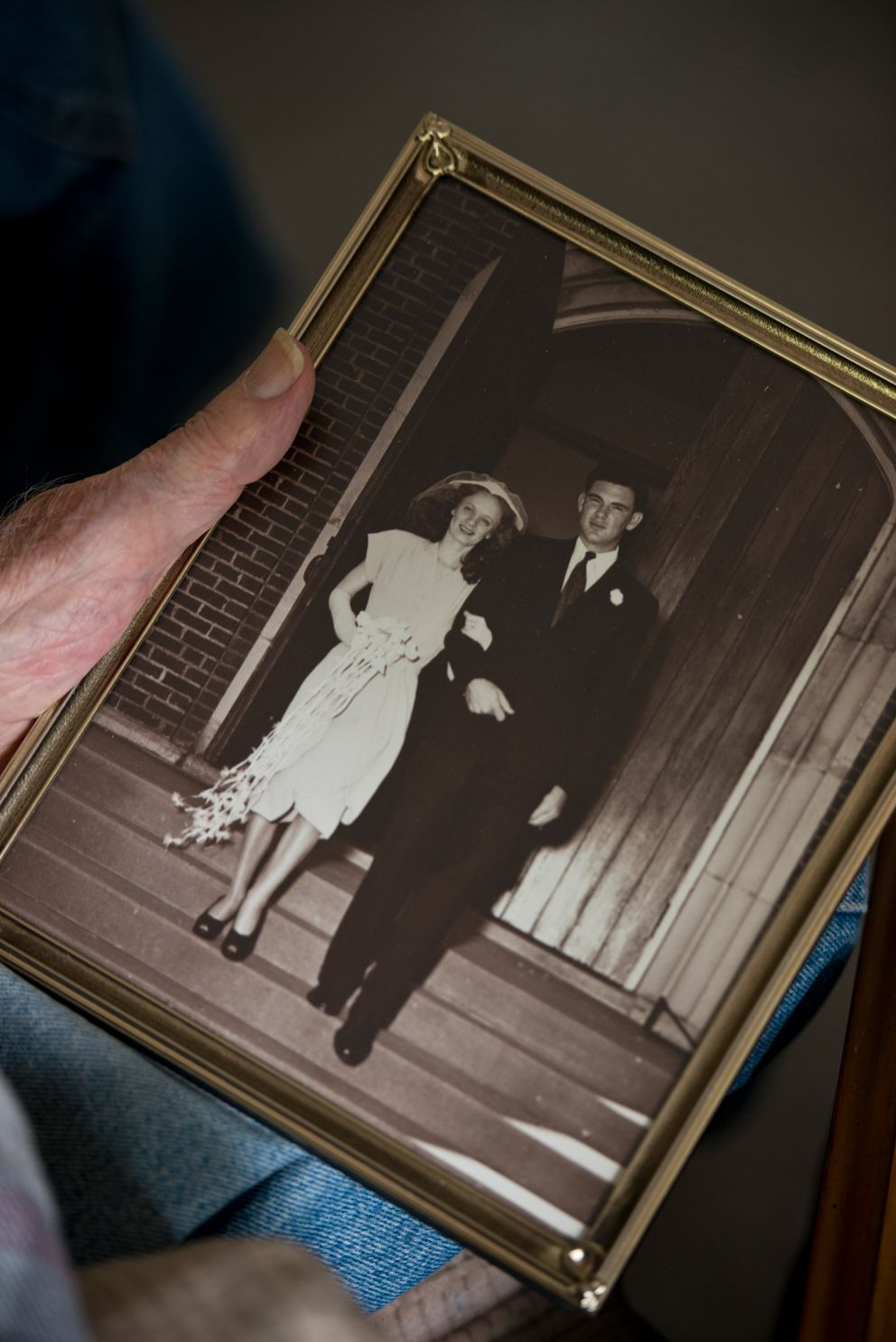 A photograph from Don and Lue Haralson's wedding day is framed at their home. (Marc Lester / Alaska Dispatch News)