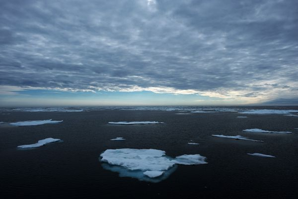 Drift ice floats past the U.S. Coast Guard Cutter Healy on July 29. MUST CREDIT: Washington Post photo by Bonnie Jo Mount
