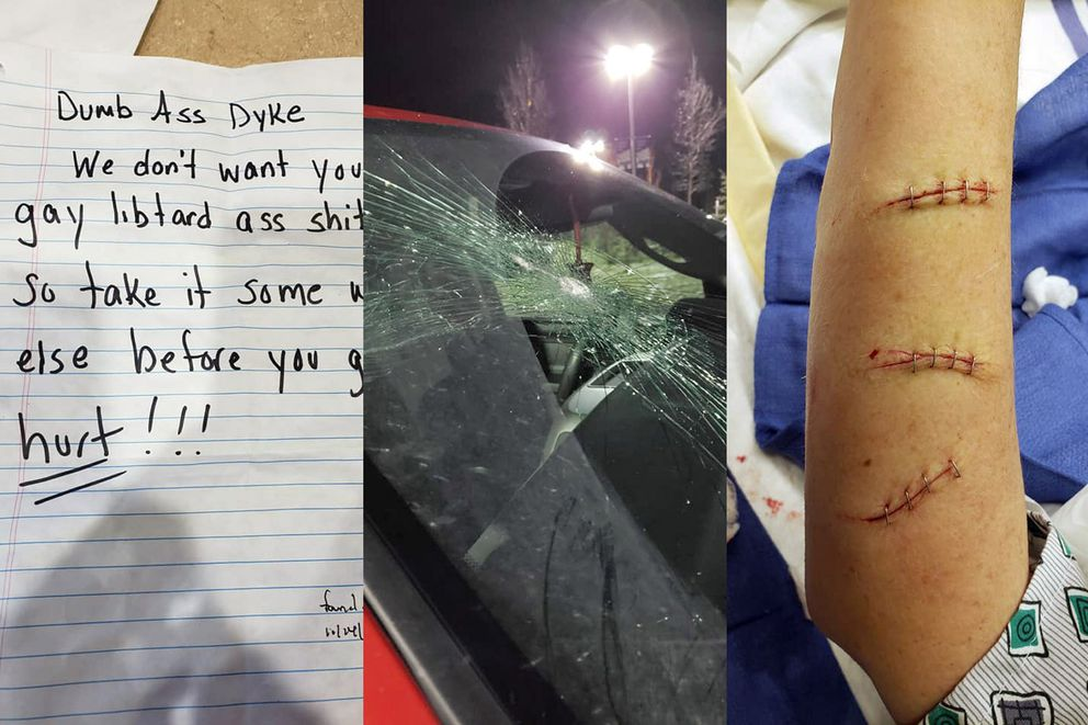 Images on Tammie Willis' Facebook page show a note that was left on her vehicle, her broken windshield and staples in her arm after she was slashed with a knife by an attacker in her home. (Photos provided by Tammie Willis)