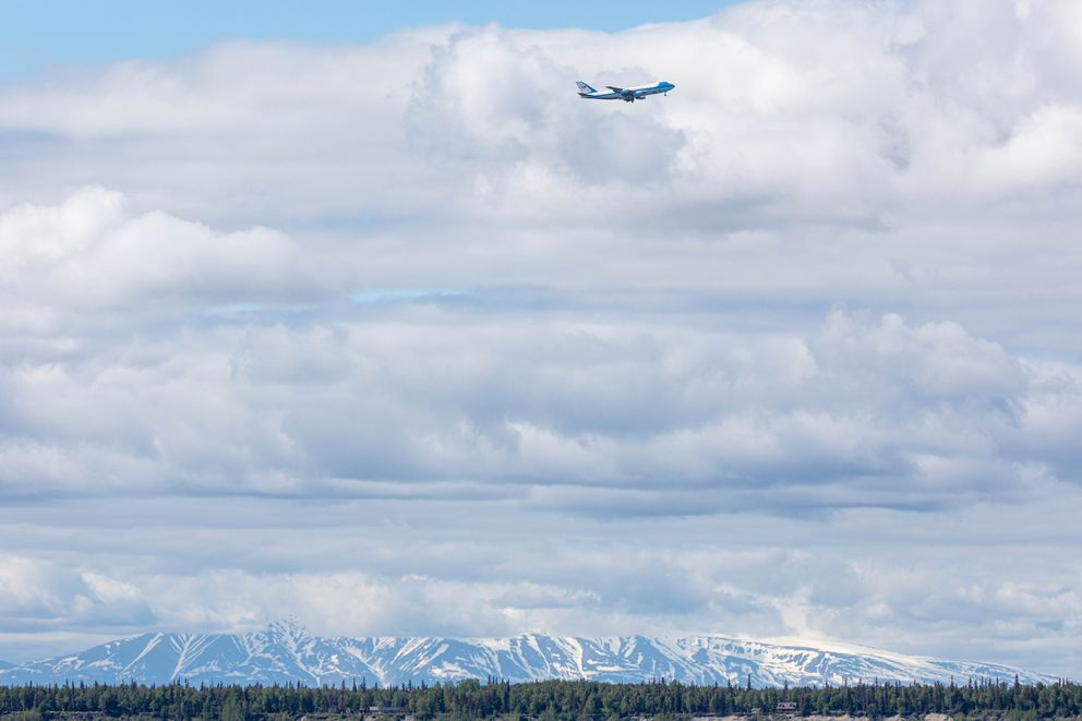 President Donald Trump arrives in Anchorage aboard Air Force One, landing at Joint Base Elmendorf-Richardson for a refueling stop en route to Japan.. (Loren Holmes / ADN)