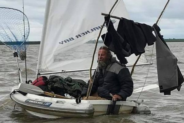 John Martin say he sailed this 8-foot boat across the Bering Sea and hoped to reach China. He is currently detained in Russia. (Courtesy of Jerry Lamont)