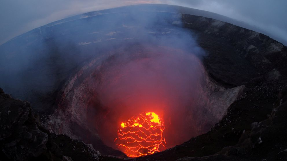 Kilauea volcano's summit lava lake shows a significant drop of roughly 220 meters below the crater rim Sunday. USGS/Handout via REUTERS