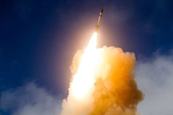 A photo from the U.S. Missile Defense Agency of a test in California of an interceptor known as the SM-3 Block IIA. An American interceptor missile missed its target in a test off the Hawaiian coast on Wednesday, Jan. 31, 2018. (U.S. Missile Defense Agency via The New York Times file)