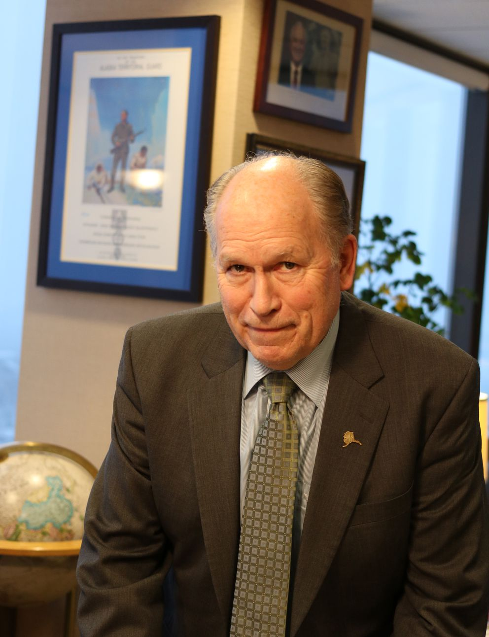 Alaska Gov. Bill Walker stands in his downtown Anchorage office on Wednesday, January 3, 2018. (Nathaniel Herz / ADN)