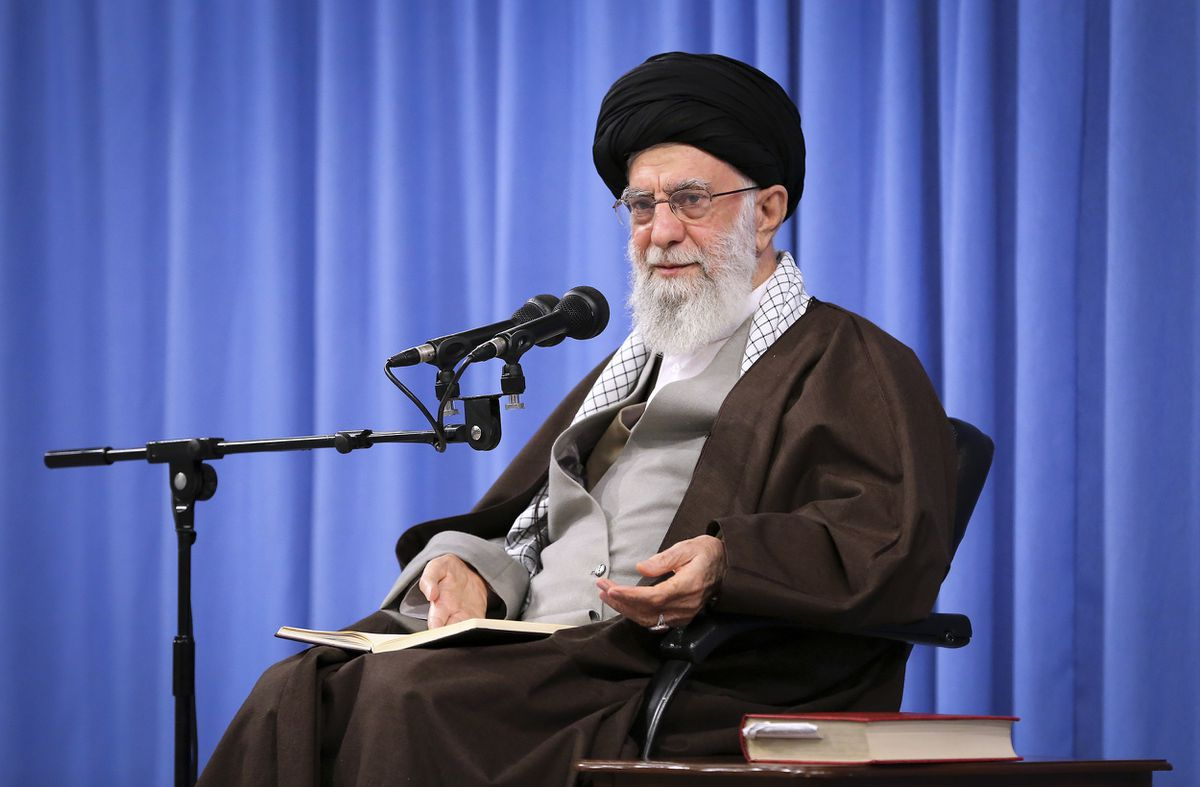 In this picture released by an official website of the office of the Iranian supreme leader, Supreme Leader Ayatollah Ali Khamenei talks to clerics in his Islamic thoughts class in Tehran, Iran, Sunday, Nov. 17, 2019. Iran's supreme leader on Sunday backed the government's decision to raise gasoline prices and called angry protesters who have been setting fire to public property over the hike