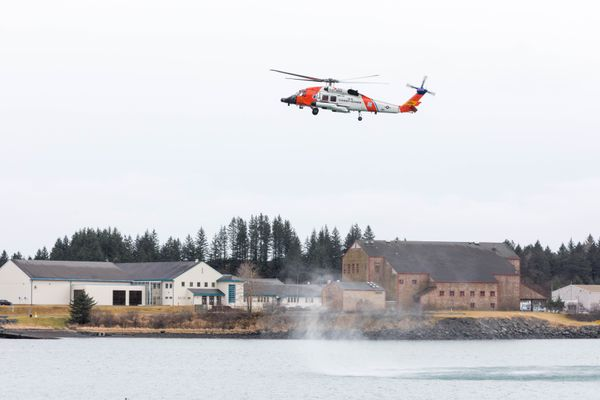 A HH-60J Jayhawk helicopter comes in for a landing at Coast Guard Air Station Kodiak on Thursday, Jan. 24, 2019. (Loren Holmes / ADN)