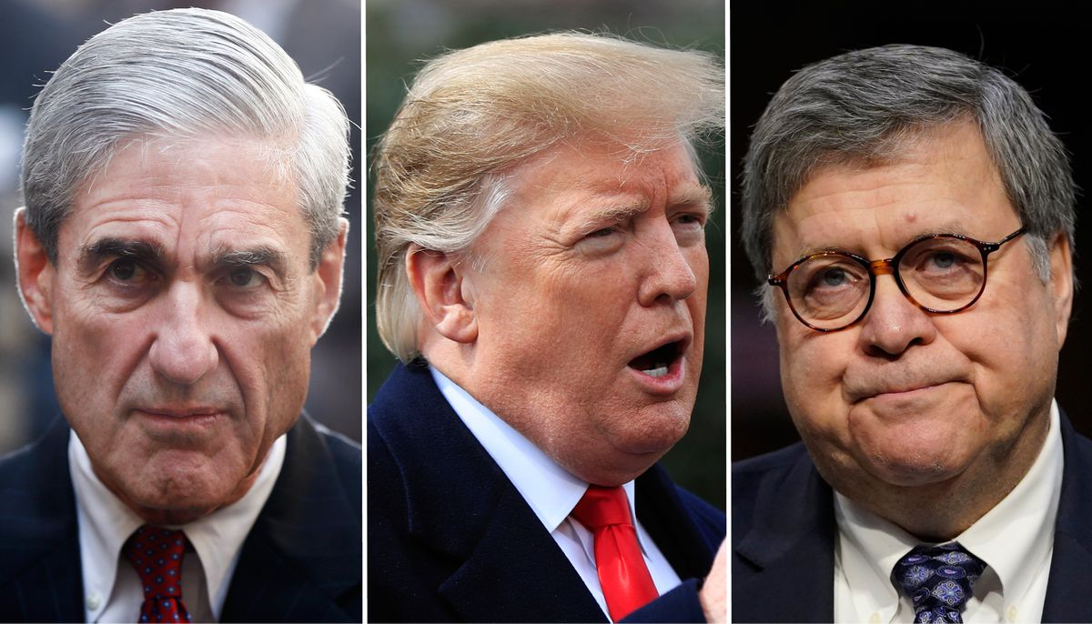 From left, special counsel Robert Mueller, President Donald Trump and Attorney General William Barr (AP file photos)