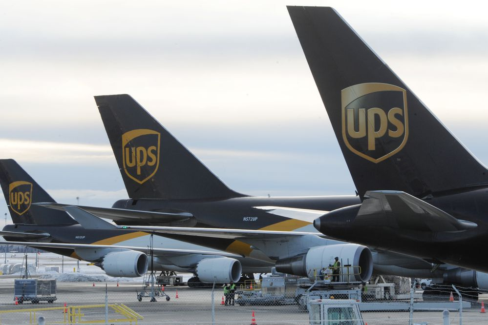 UPS make a refueling stop at Ted Stevens Anchorage International Airport on Thursday, Dec. 5, 2019. UPS is planning a potential $110 million expansion at the airport. (Bill Roth / ADN)