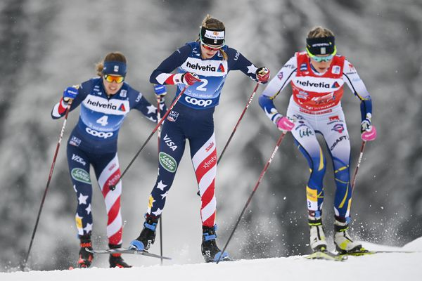 Rosie Brennan of USA, left, Jessica Diggins of USA, and Frida Karlsson of Sweden, right, during the women's 10km free style pursuit race of the third stage of the Tour de Ski, in Tschierv, Switzerland, Sunday, Jan. 3, 2021. (Gian Ehrenzeller/Keystone via AP)