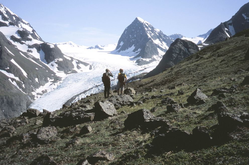 Jim Saylor, left, and Tucker Spohr in the meadows on the lower east flank of Benign Peak with Eklutna Glacier and 7,040-foot peril Peak beyond them during a 2004 hike with Shawn Lyons. (Shawn Lyons / ADN archive 2004)