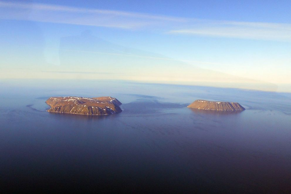 Big and Little Diomede islands in the Bering Strait between Provideniya and the Seward Peninsula  (Marshall Severson)