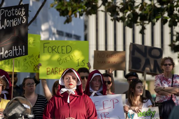 Margeaux Hartline, dressed as a handmaid, during a rally against HB314, the near-total ban on abortion bill, outside of the Alabama State House in Montgomery, Ala., on Tuesday May 14, 2019. (Mickey Welsh/The Montgomery Advertiser via AP)