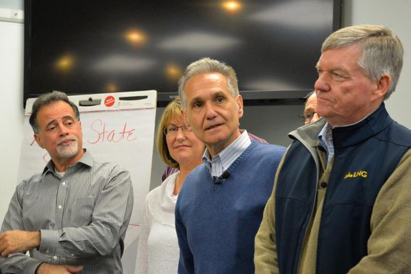 Senate Republicans organize themselves for the 29th Legislature, November 5, 2014. The newly selected president, Kevin Meyer, R-Anchorage, is in blue sweater, with the outgoing president, Sen. Charlie Huggins, R-Wasilla, at right. At left is Sen. Peter Micciche, R-Soldotna, and Sen. Anna Fairclough, R-Eagle River.